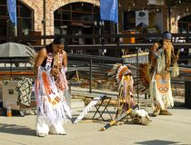 Street musicians from Peru perform at the resort in Krasnaya Pol Stock Photography