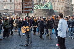 Street musicians play on Old Town Square, Prague Stock Photography