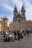 Street musicians play on Old Town Square, Prague, Czech Republic Royalty Free Stock Photo
