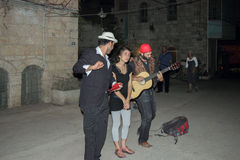 Street musicians play the scene in old Jerusalem stock image