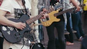 Street Musicians Playing a Guitars stock video