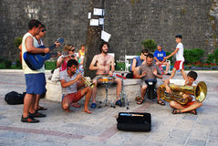 Street Musicians playing in Kotor, Montenegro royalty free stock photography