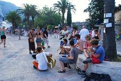 Street Musicians playing in Kotor, Montenegro stock images