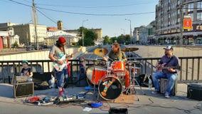 Street musicians playing music Stock Photos