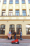Street musicians playing on the street of Hrodna Stock Photo