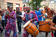 Street musicians procession in Lviv Stock Image