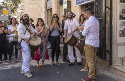 Street musicians religious Jews Streets and houses in Jerusalem Stock Photography