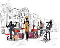 Street musicians. Series of the streets with musicians in the old city vector illustration