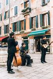 Street musicians on the square of venice. In italy stock images