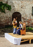 Street musicians on the square in Vyborg Castle stock photography
