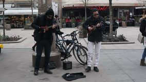 Street musicians stock footage