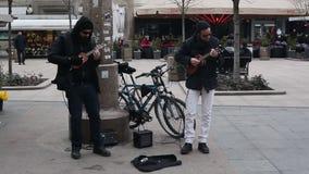 Street musicians stock video
