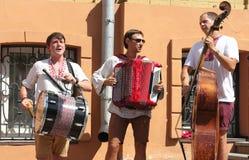 Street musicians. On the Ukrainian national historic street of Kiev Stock Image