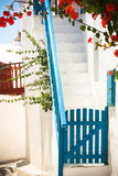 Street of mykonos. White washed and cosy little street in the greek island of mykonos Royalty Free Stock Images
