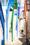 Street of mykonos. White washed and cosy little street in the greek island of mykonos Royalty Free Stock Photos
