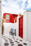 Street in Mykonos, Greece. Beautiful street scene in the old town of Mykonos, Greece stock photo