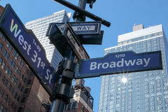 Street name. In New York city at USA Stock Image