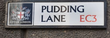 Free Street Name Of Pudding Lane, Where The Great Fire Of London Started In 1666, London 2017 Royalty Free Stock Images - 100609639