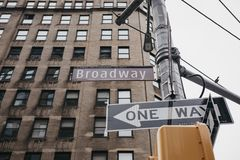 Street name and road signs on Broadway in Manhattan, New York, U stock photo