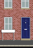 Street name sign. House on street with blank street name sign Royalty Free Illustration