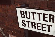 Street name sign - butter street royalty free stock photo