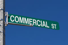 Street name sign Commercial street Stock Photo
