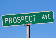 Street name sign Prospect Ave. Close up of a street name sign with Prospect Ave Royalty Free Stock Photography