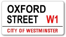 Oxford Street Sign. The street name sign from Oxford Street West One stock illustration