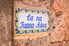 Street name sign in Valldemossa. Photograph of street name sign, Valldemossa, Mallorca, Spain Stock Images