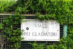Street name sign of Viale dei Gladiatori, Rome, Italy. Street name sign of Viale dei Gladiatori, in the Foro italico, close to the Circolo del tennis, Rome stock images