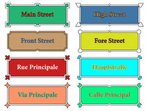 Street name signs. With ornaments Stock Images