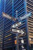 Street name signs in Manhattan, NYC Royalty Free Stock Images