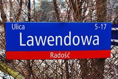 Street name. Warsaw marks, Warsaw, Poland, signpost, tablet, district, street, house numbers Stock Images