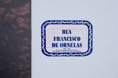 Street nameplate in Angra do Heroismo, Terceira island, Azores Stock Image