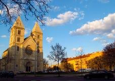 Street near catholic Cathedral in Budapesht royalty free stock photography