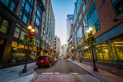 Street near Downtown Crossing, in Boston, Massachusetts. Royalty Free Stock Images