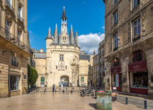 Street near Gate Cailhau - Porte Cailhau in Bordeaux - France Royalty Free Stock Photography