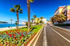 Street near the harbor in the city of Porec town on Adriatic sea. Royalty Free Stock Photo