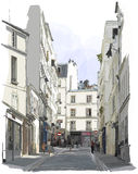 Street Near Montmartre In Paris Stock Images