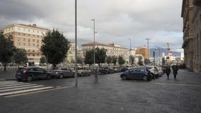 Street near Piazza Municipio in Naples stock video