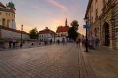 The street near Wawel Castle in old town of Krakow Stock Image