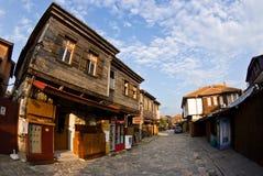 Street in Nesebar stock photo