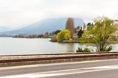 Street by Neuchatel lake Stock Photo