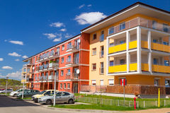 Street with new apartments Stock Images