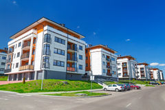 Street with new apartments Royalty Free Stock Photography