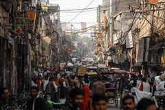 Street of New Delhi. A lot of people on the street in India. New Delhi stock images