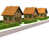 Street with new houses isolated on white Stock Images