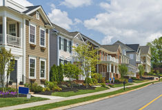 Street of New Luxury Home Construction Revised Stock Photography