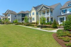 Street of suburban homes stock photo