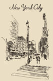 Street New York city engraved illustration vector Royalty Free Stock Photos